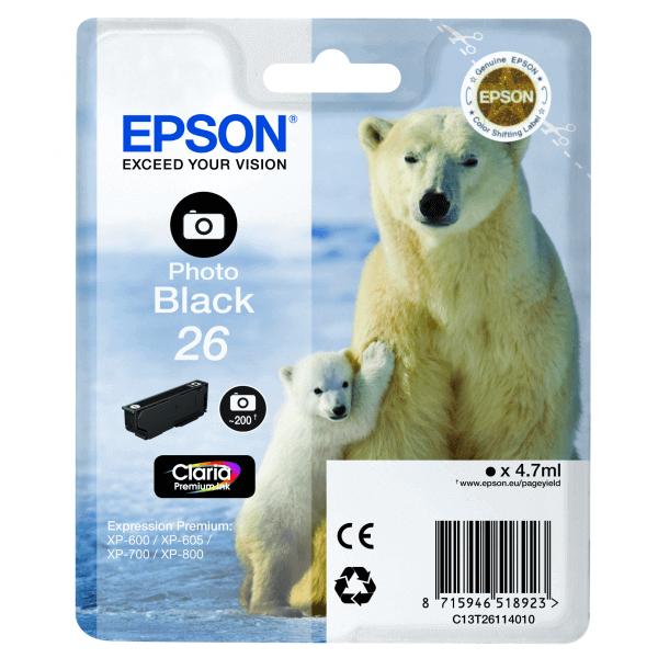 Original Ink Cartridge Epson T2611 Black Photo Claria Premium