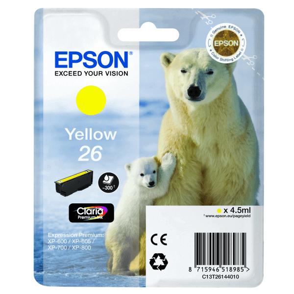 Original Epson T2614 Yellow Ink Cartridge Premium