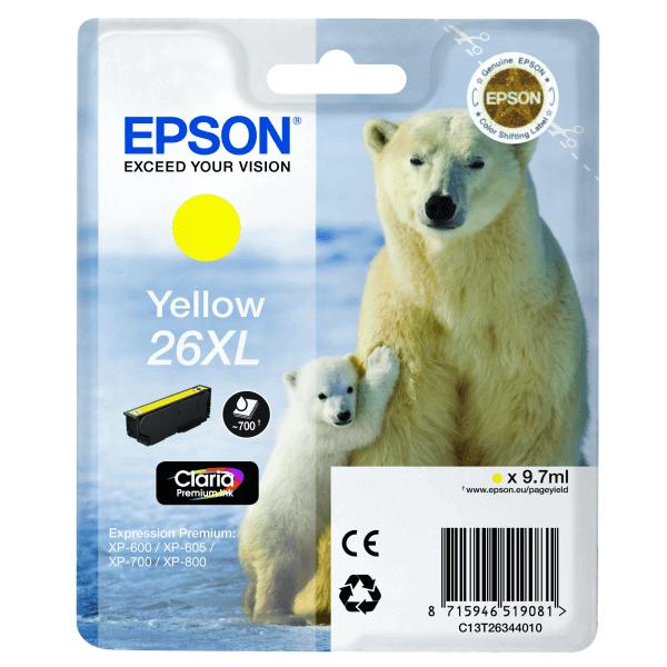 Original Epson T2634 Yellow Ink Cartridge Premium